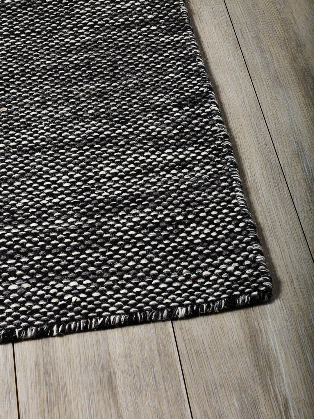 Black Grey pure wool rugs Perth