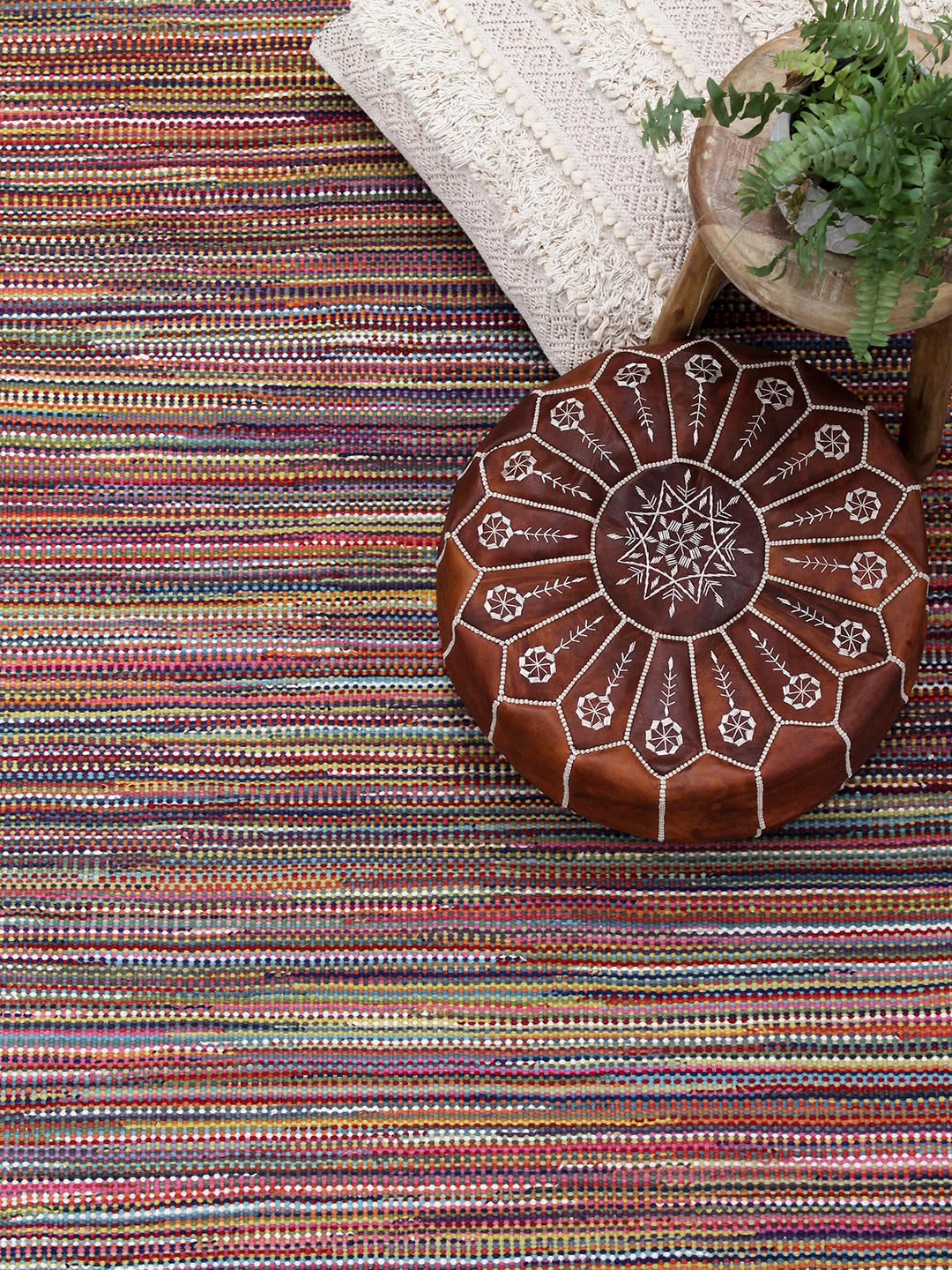 Braid Stripe-Rainbow pure wool rugs Perth
