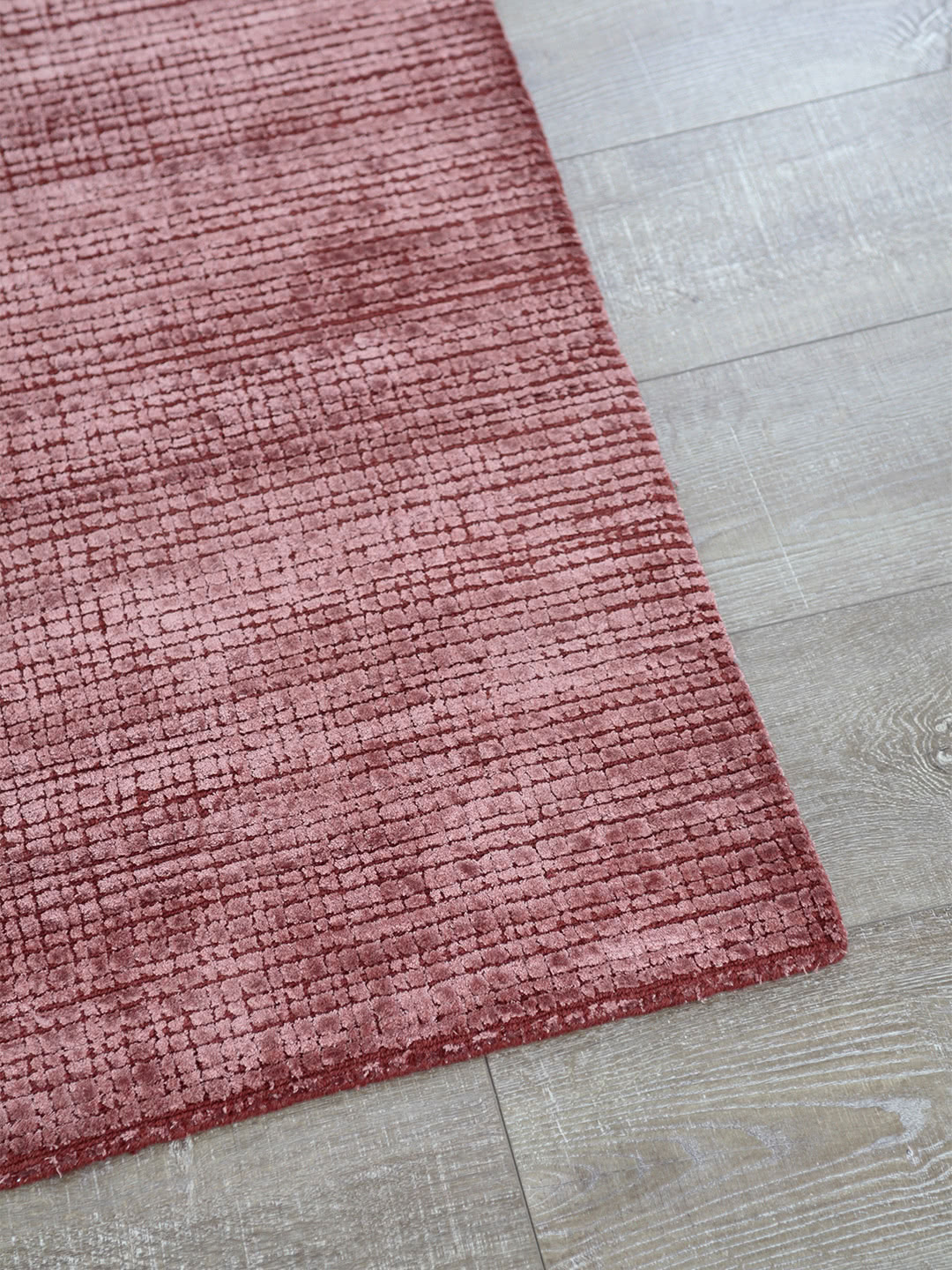 Lava Russet hand loom knotted wool and art silk rug