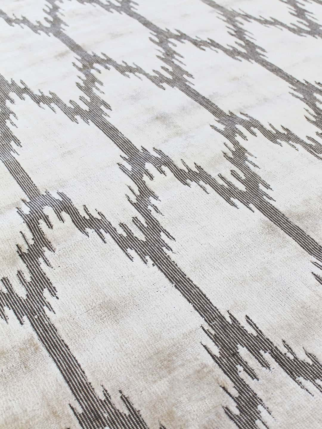 ikat stans rug centre hand woven wool and art-silk beige