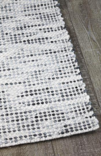 Kobe silver hand woven pure wool flat weave rug stans rug centre