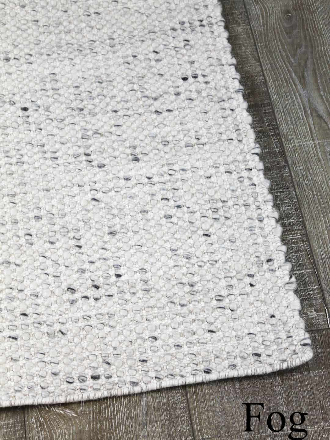 Kobe fog grey hand woven pure wool flat weave rug stans rug centre