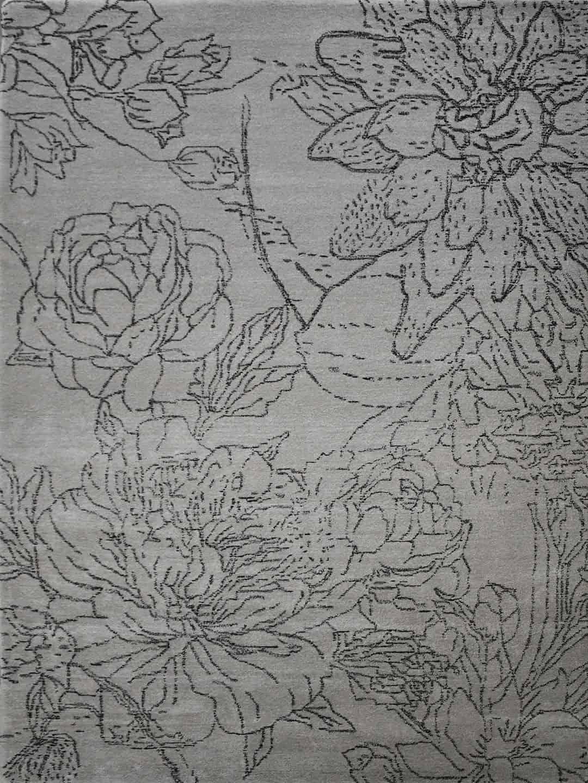 botanic hand tufted wool rug neutral tones