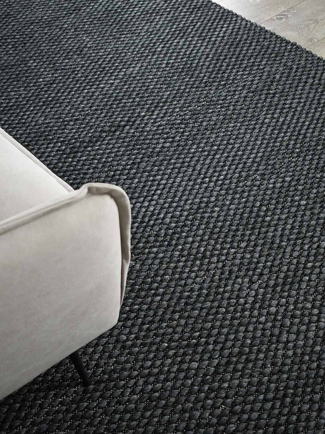 palmas frost grey flat weave texture wool stans rug centre